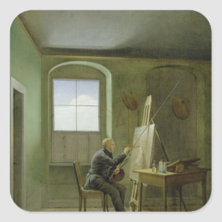 Caspar David Friedrich  in his studio, 1811 Square Sticker