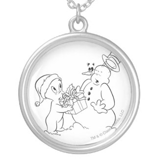 Casper and Snowman Silver Plated Necklace