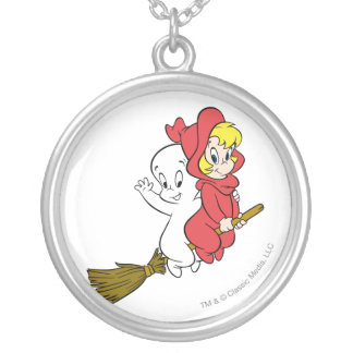 Casper and Wendy Riding Broom Round Pendant Necklace