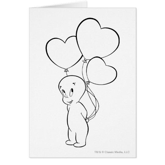 Casper Heart Balloons Card
