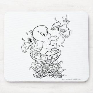 Casper in Bird Bath Mouse Pad