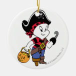 Casper in Pirate Costume Round Ceramic Decoration