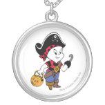 Casper in Pirate Costume Round Pendant Necklace