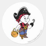 Casper in Pirate Costume Round Stickers