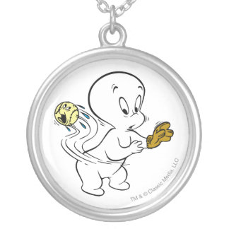 Casper Playing Baseball Silver Plated Necklace