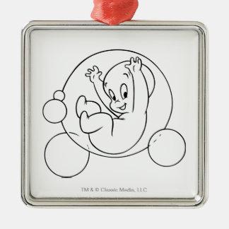 Casper Playing in Bubbles Silver-Colored Square Decoration