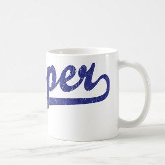 Casper script logo in blue coffee mug