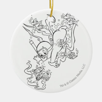 Casper Scuba Diving Round Ceramic Decoration