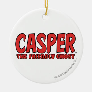 Casper the Friendly Ghost Red Logo 1 Round Ceramic Decoration