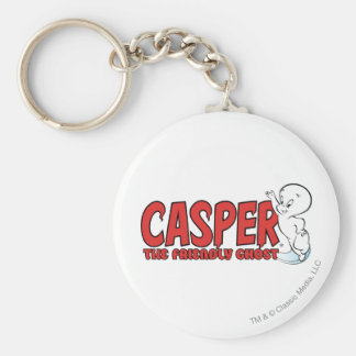 Casper the Friendly Ghost Red Logo 2 Basic Round Button Key Ring