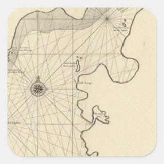 Caspian Sea and Asia 2 Square Sticker