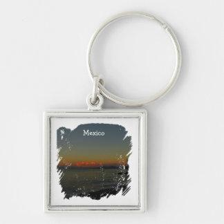 CASR Cityscape at Sunrise Silver-Colored Square Key Ring