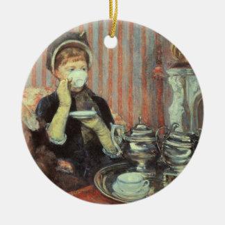 Cassatt: Five O'Clock Tea, Round Ceramic Decoration