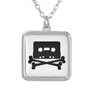 Cassette & Crossbone Square Silver Plated Necklace