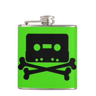 Cassette Green Vinyl Wrapped Flask
