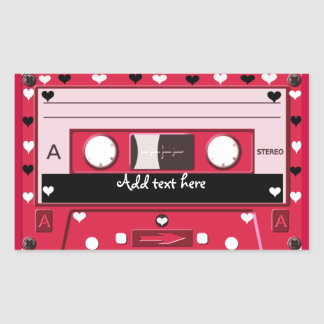 Cassette of love_ rectangular sticker