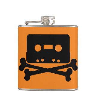 Cassette Orange Vinyl Wrapped Flask