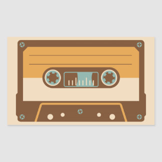 Cassette Tape Analog Design Rectangular Sticker