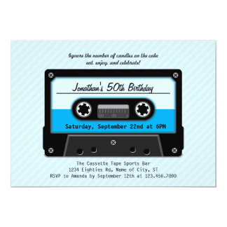 "Cassette Tape Birthday Invitation 5"" X 7"" Invitation Card"