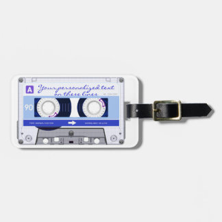 Cassette tape - blue - luggage tag