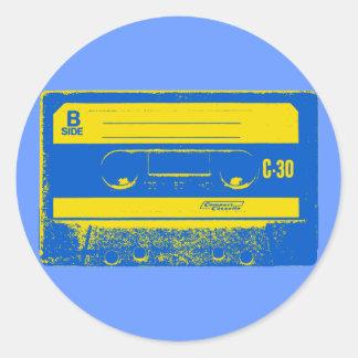 Cassette Tape Blue & Yellow Classic Round Sticker