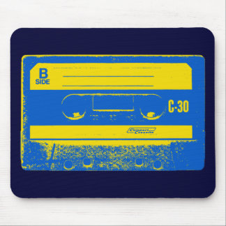 Cassette Tape Blue & Yellow Mouse Pad