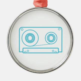 Cassette Tape Silver-Colored Round Decoration