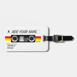 Cassette tape label luggage tag