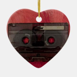 Cassette tape music vintage red ceramic heart decoration