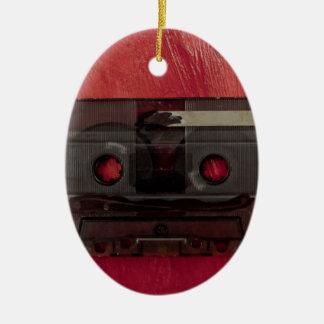 Cassette tape music vintage red ceramic oval decoration