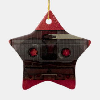 Cassette tape music vintage red ceramic star decoration