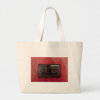 Cassette tape music vintage red large tote bag
