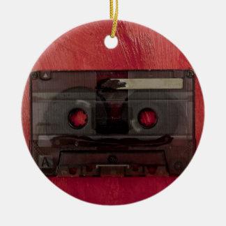 Cassette tape music vintage red round ceramic decoration