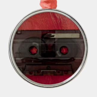 Cassette tape music vintage red Silver-Colored round decoration