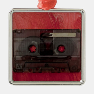 Cassette tape music vintage red Silver-Colored square decoration