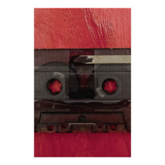 Cassette tape music vintage red stationery