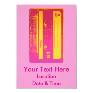 Cassette Tape Pink & Yellow Card
