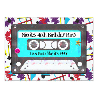 Cassette Tape Retro 80's 90's Theme Birthday Party Card