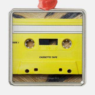 Cassette Tape Silver-Colored Square Decoration