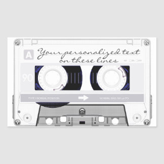 Cassette tape - white - rectangular sticker