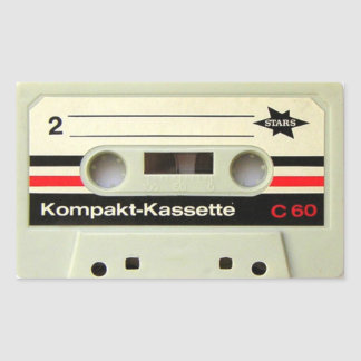 Cassette Tape White Rectangular Stickers