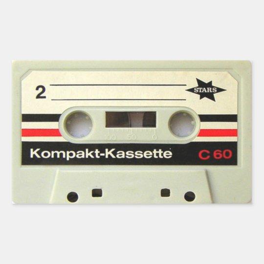 Cassette Tape White Rectangular Stickers