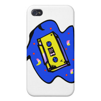 Cassette Tape Yellow and Blue Cases For iPhone 4