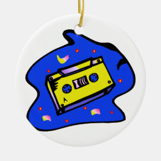 Cassette Tape Yellow and Blue Round Ceramic Decoration