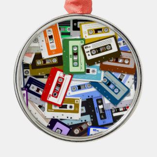 Cassette Tapes Silver-Colored Round Decoration