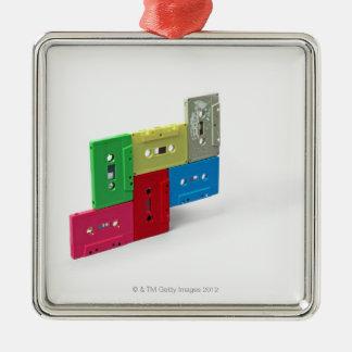 Cassette Tapes Silver-Colored Square Decoration