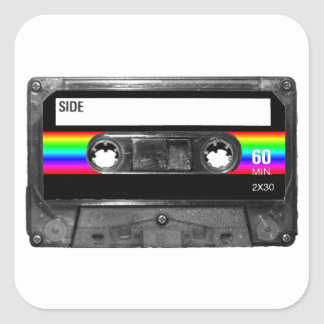 Cassette w/Black and Rainbow Stripe Label