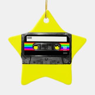 Cassette w/Black and Rainbow Stripe Label Ceramic Star Decoration