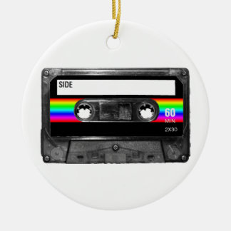 Cassette w/Black and Rainbow Stripe Label Round Ceramic Decoration