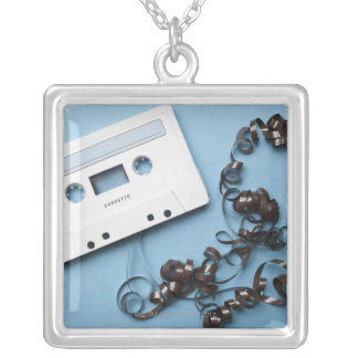 Cassette with Tangled Tape Silver Plated Necklace